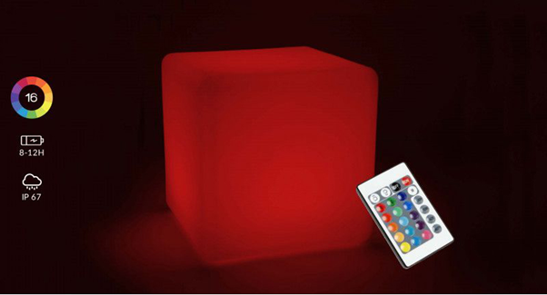 Rechargeable outdoor LED Cube Multicolor